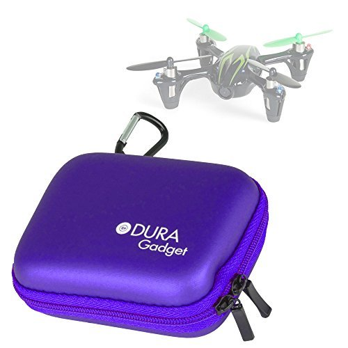 DURAGADGET Hubsan Quadcopter Drone Case Premium Quality Purple Hard EVA Shell Case / Box with Carabiner Clip & Twin Zips for the Hubsan X4 (H107C) / X4 (H107L) Quadrocopter Drone