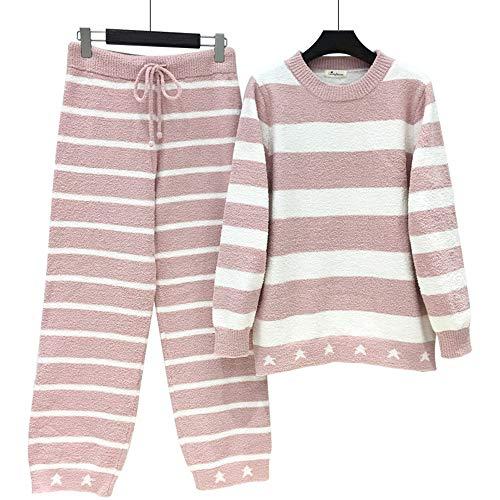 Domicilio Y E Mmllse Traje A Pijama Mangas Suave Pink Rayas Invierno Servicio Otoño Cálido Largas SvfqUfEwx
