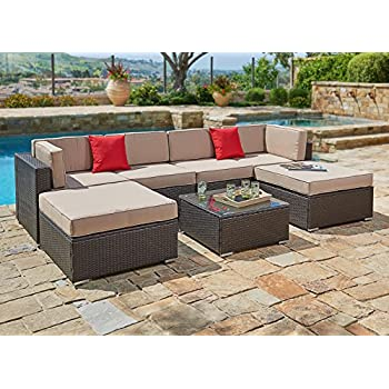 Suncrown Outdoor Furniture Sectional Sofa Set (7 Piece Set) All Weather  Brown Wicker With Brown Washable Seat Cushions U0026 Modern Glass Coffee Table  | Patio, ...