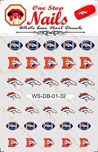 Denver Broncos Vinyl Peel and Stick nail decals Set of 32 Stickers with White Backgroung V1 -