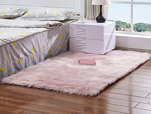 Luxury Soft Faux Fur Sheepskin Fluffy Shaggy Area Rug Chair Cover Bedroom Sofa Floor Pad Rug for Livingroom,Baby Pink,2.5x4ft Bedside Rug