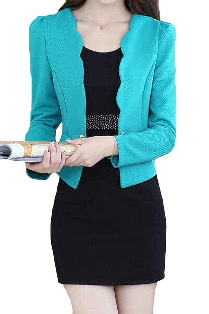 XTX Womens Basic Two Piece Slim Fit Blazer Jacket Skirt Business Suits Set