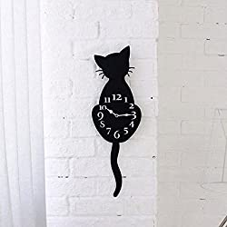 Morrivoe Creative Wall Clocks Cartoon Cute Black Cat Silent Non Ticking Acrylic Wall Clock with Swinging Tails DIY Decoration for Living Room