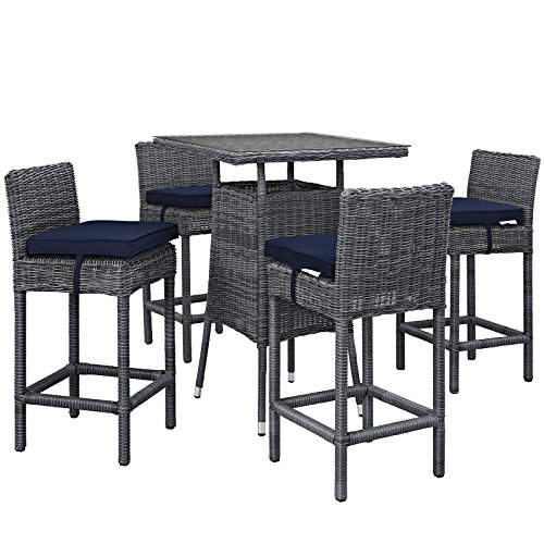 Modway Summon 5 Piece Outdoor Patio Pub Set With Tempered Glass Top And Sunbrella Brand Navy Canvas Cushions