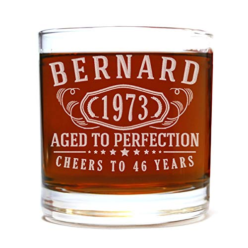 Personalized Etched 11oz Whiskey Rocks Lowball Glass for Birthday Gifts Scotch Bourbon