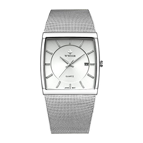 Wwoor Stainless Steel Mesh Band Analog Quartz Date Dress Watch Waterproof Luminous Square Watches Silver ()
