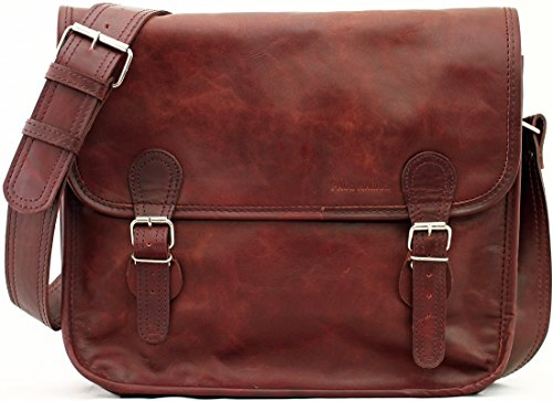 LA SACOCHE BRUN D'AUTOMNE (M) Vintage Leather Satchel Unisex shoulder Bag (A4) PAUL MARIUS