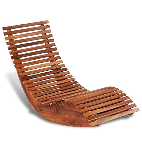 Outdoor Teak Patio Sun Lounger - Outdoor Wood Daybed Rocking Chair Porch Rocker Furniture Wooden Sun Lounger Solid Garden Sunbed Deck Furniture