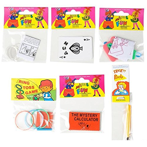 Assorted Pack of Magic Tricks for Kids - 12 Pack with 6 Mini Tricks (2 of each) – includes: Magic Rope – Magic Calculator – Magic Jug – Magic Finger Chopper – Magic Nail Box | Amazing Party Favors (Kids Mini Chopper)