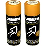 2 x CANBRUSH Spray Paint - For Metal Plastic & Wood 400ML - Gold by CANBRUSH