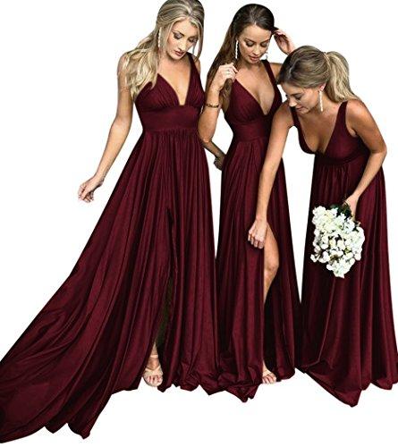 MARSEN Bridesmaid Dress V Neck Backless 2018 Women Formal Empire Waist Prom Gown Silt Burgundy Size 10 -