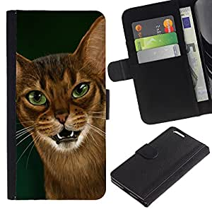 Cornish Rex Abyssinian Ocicat - la tarjeta de Crédito Slots PU Funda de cuero Monedero caso cubierta de piel Apple (5.5 inches!!!) iPhone 6+ Plus / 6S+ Plus