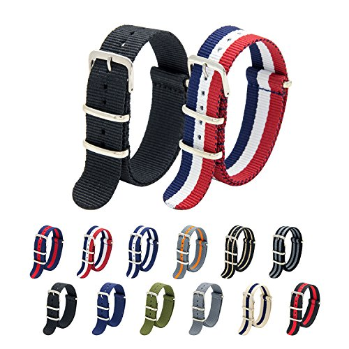 Nato Strap Pack of 2 - 20mm 22mm Premium Ballistic Nylon Watch Bands with Stainless Steel Buckle (Black+Smoke Pumpkin, 20mm)
