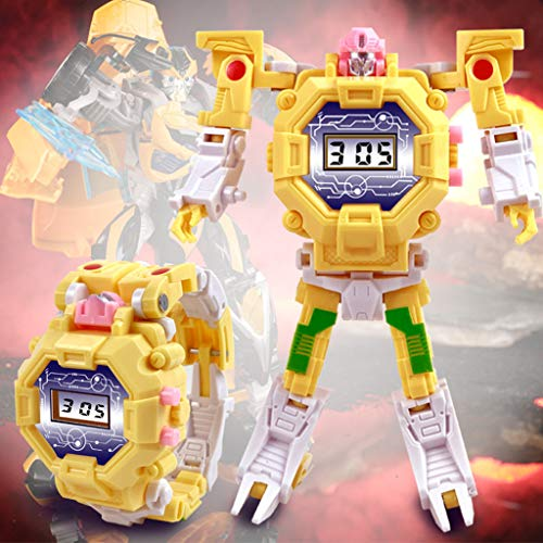 LtrottedJ Electronic Deformation Watch Children Creative Manual Transformation Robot Toys (Yellow) -