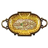 Home decor. Set of 2 Yellow Oval Trays. Dimension: 8.75 x 4.5 x 1.5. Pattern: French Rooster.