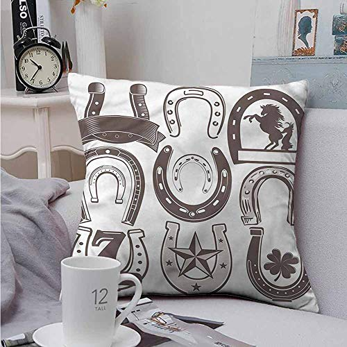 Fbdace Throw Pillowcase Horseshoe Lucky Number Seven Star Soft, Breathable and Hypoallergenic 14 X 14 Inch