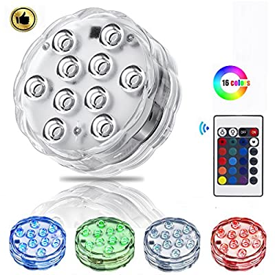 Submersible Swimming Pool LED Lights with Remote Controlled,Battery Powered RGB 16 Colors Changing 1 Pack IP68 Waterproof Lights for Hot Tub,Garden,Halloween,Home Decorations and Christmas Party