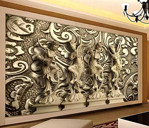 Murwall Greek Sculpture Art Wallpaper 3D Embossed Cement Wall Murals for Living Room Bedroom Entryway Luxury Home Decor