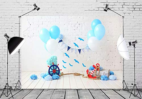 BELECO 7x5ft Cake Smash Backdrop Nautical Theme First Birthday Decor Baby Boy 1st Bday Photography Backdrop for Party Decorations Photoshoot Photo Background Props
