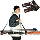 snowboard accesory - Athletrek Ski and Pole Carrier Strap with Durable Cushioned Velcro to Protect Skis from scratches |Bonus Ski Boot Carrier |Perfect Ski & Snow Gear accessory |Use over Shoulder to Free up hands
