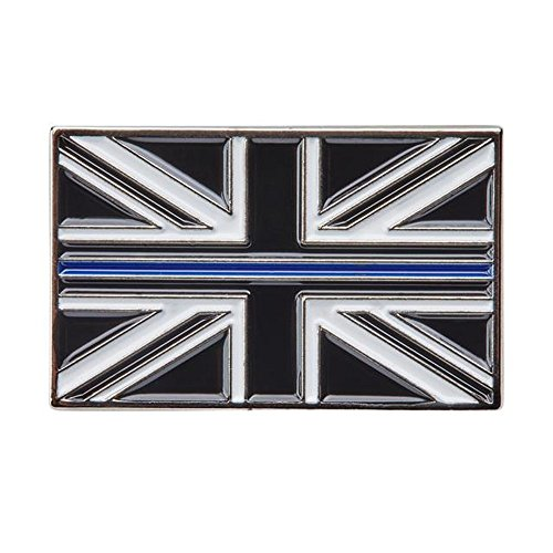 Thin Blue Line Union Jack UK Metal Tie Pin Lapel Badge by PolAmb Products LTD (Union Badges Jack)