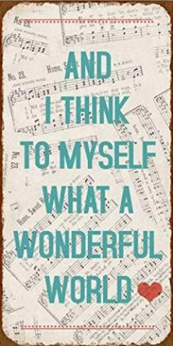 1art1 Music Magnetic Tin Sign, Vintage Style Magnet - and I Think to Myself What A Wonderful World (4 x 2 - Sign Tin Magnetic