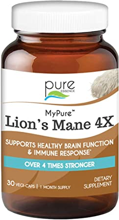 Pure Essence Labs MyPure Lions Mane 4X Mushrooms Supplement - 100% Real Mushroom Extract for Immune Support, Combat Stress, Build Energy - Best Immune Booster for Men and Women (30 Capsules)