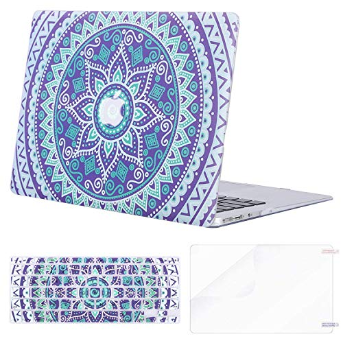 MOSISO Plastic Pattern Hard Case & Keyboard Cover & Screen Protector Only Compatible MacBook Air 13 Inch, Pure Purple Round Flower