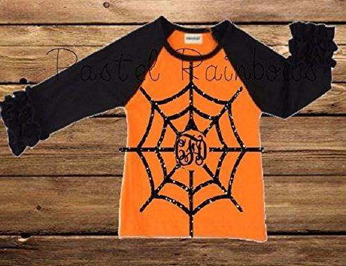 Monogrammed Halloween Icing Raglan-Spiderweb Shirt-Girls Orange and Black Halloween Raglan]()