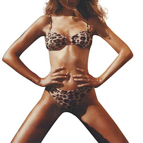 Each-Place Leopard Sexy Swimsuit Swimwear Strap Backless Bodysuit Costume Women Push-Up Bikini,Brown,M ()