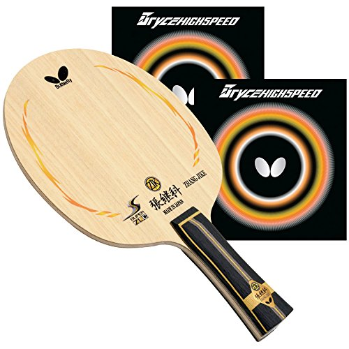 Butterfly Zhang Jike Super ZLC FL Blade with Bryce High Speed 2.1 Red/Black Rubbers Pro-Line Table Tennis Racket (Carbon Fiber Line Pro)