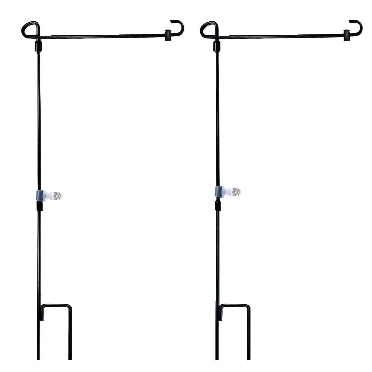 Garden Flag Stand-Holder-Pole with Garden Flag Stopper and Anti-Wind Clip 36.3''H x 16.5''W For USA Flag Or Season Garden Flags Keep Your Flags from Flying Away in High Winds(2 Pack)