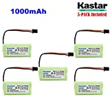Kastar 5-PACK AAAX2 2.4V MSM 1000mAh Ni-MH Rechargeable Battery for Uniden BT-1008 BT-1016 BT1008S DECT20602 DECT 2080 DECT 2060-2 DWX-207 DECT20854WX DECT21802 Dantona BATT-1008 Empire CPH-515B