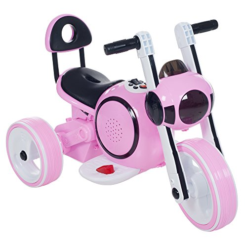 3 Wheel LED Mini Motorcycle Trike, Ride on Toy for Kids by Rockin ' Rollers  – Battery Powered Toys for Boys and Girls, Toddler - 4 Year Old - Pink -