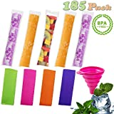 yogurt sleeves - EXSPORT 180 PCS Pop Bags Pop Mold Bags Popsicle Pouches Popsicle Molds Bags BPA Free and FDA Approved Ice Pop Pouch with 4 PCS Popsicle Holders for Yogurt, Ice Candy, Ice cream Party Favors