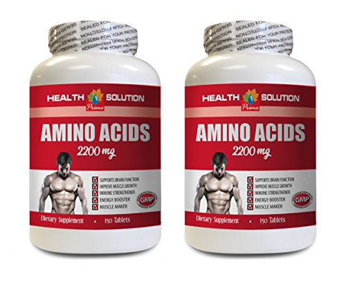 Workout Supplements for Men Muscle - Amino Acids 2200 Mg - Muscle Maker - Amino Acids Bodybuilding - 2 Bottles 300 Tablets by Health Solution Prime