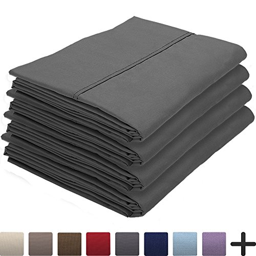 Price comparison product image 4 Pillowcases - Premium 1800 Ultra-Soft Collection - Bulk Pack - Double Brushed - Hypoallergenic - Wrinkle Resistant - Easy Care (King - 4 Pack, Grey)