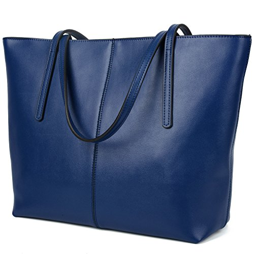 YALUXE Women's Large Capacity Leather Work Tote Zipper Closure Shoulder Bag (Blue Tote)