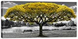 modern fireplace design ideas Large Canvas Wall Art for Living Room Black and White Themed Yellow Tree Landscape Picture Print on Canvas Modern Framed Artwork Decoration for Home Bedroom Decor 30x60in
