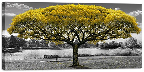 Large Canvas Wall Art for Living Room Black and White Themed Yellow Tree Landscape Picture Print on Canvas Modern Framed Artwork Decoration for Home Bedroom Decor ()