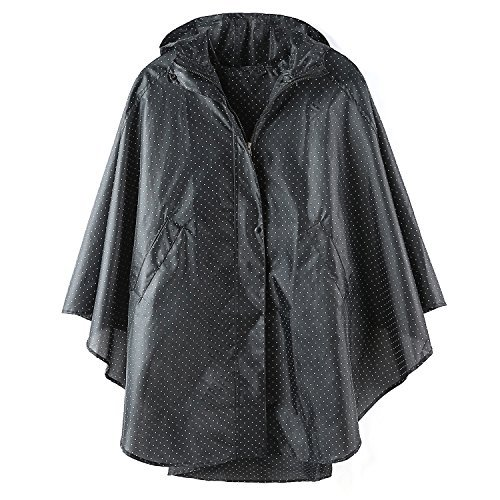 Waterproof Rain Poncho Hooded for Adults with Pockets (Black Point) ()