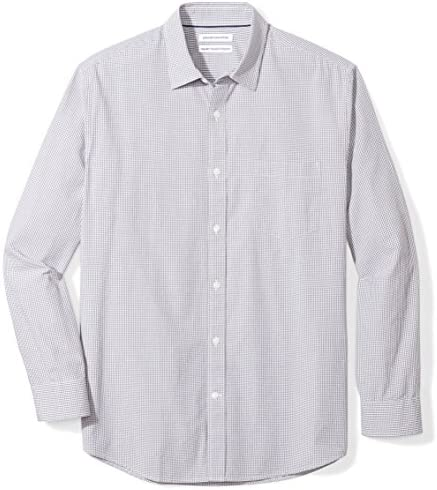 Amazon Essentials Camisa de popelina casual de cuadros vichy de manga larga regular para hombre