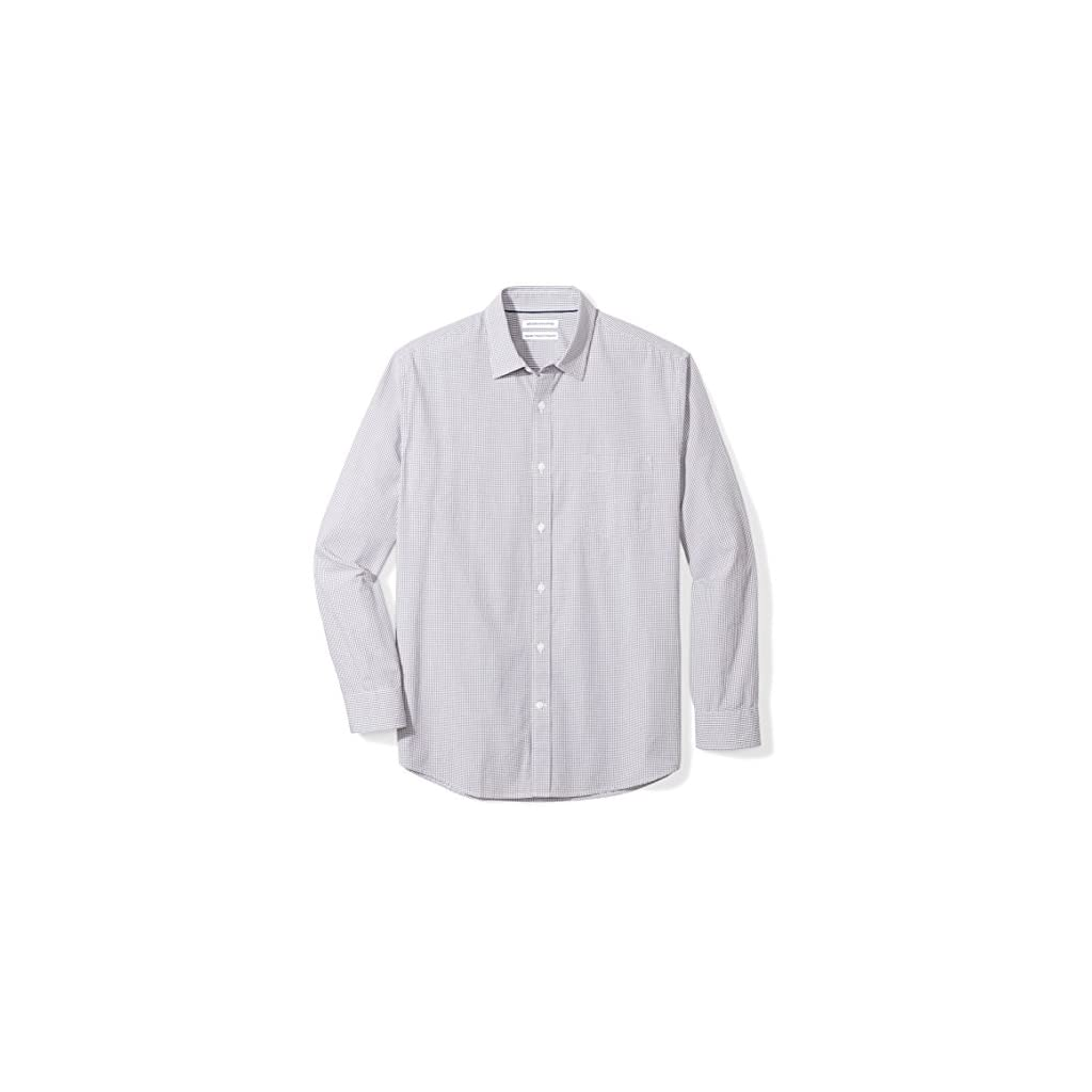 Amazon Essentials Men's Regular-Fit Long-Sleeve Gingham Casual Poplin Shirt