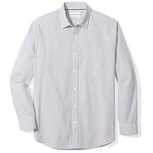 Amazon Essentials Men's Regular-Fit Long-Sleeve Gingham Casual Poplin Shirt