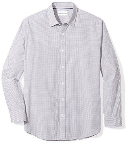 Amazon Essentials Men's Regular-Fit Long-Sleeve Casual Poplin Shirt, Grey Mini-Gingham, XX-Large