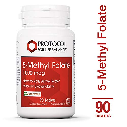Protocol For Life Balance - 5-Methyl Folate 1,000 mcg - Metabolically Active Folic Acid 5-MTHF - Supports Brain, Heart, Nerve Health, Helps Improve Immune System, Healthy Pregnancy - 90 Tablets