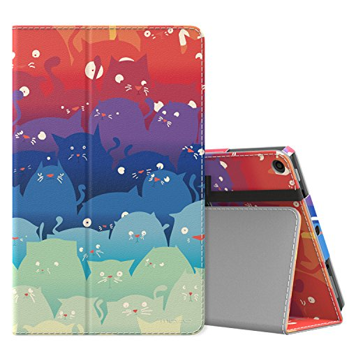 MoKo Case for All-New Amazon Fire HD 10 Tablet (7th Generation and 9th Generation, 2017 and 2019 Release) - Slim Folding Stand Cover with Auto Wake/Sleep for 10.1 Inch Tablet, Totoro