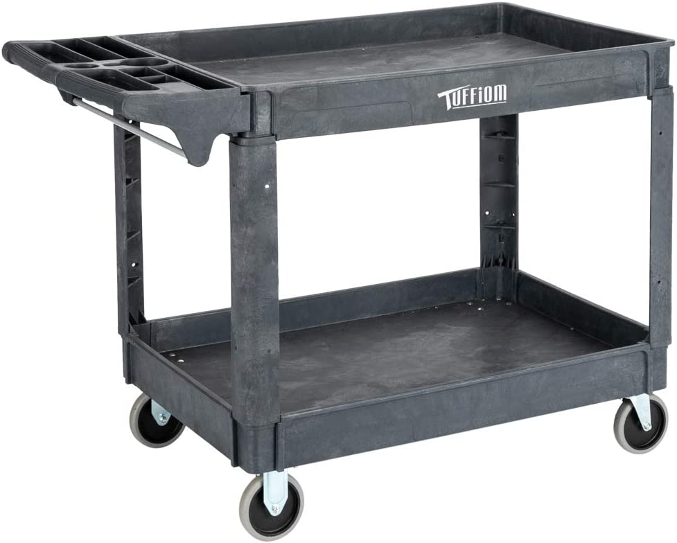 TUFFIOM Plastic Service Utility Cart, Support up to 550lbs Capacity, Heavy Duty Tub Storage Cart W/Deep Shelves, Multipurpose Rolling Extra Large 2-Tier Mobile Storage Organizer, for Warehouse Garage