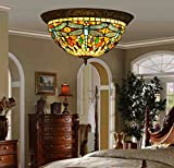Makenier Vintage Baroque Tiffany Style Red Stained Glass Blue Dragonfly Flush Mount Ceiling Lamp Fixture - 16 Inches Lampshade