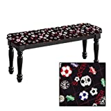 Traditional Farmhouse Style Dining Bench with Black Legs and a Padded Seat Cushion Featuring Your Favorite Novelty Themed Fabric Covered Bench Top (Soccer)